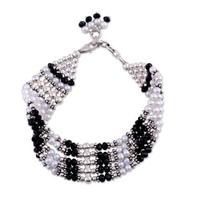 Pearl and Onyx Bracelet Handcrafted Silver Jewelry India