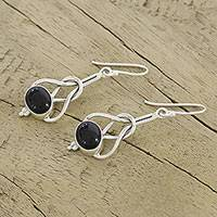 Onyx dangle earrings, 'Vision Path' - Unique Onyx and Sterling Silver Drop Earrings from India