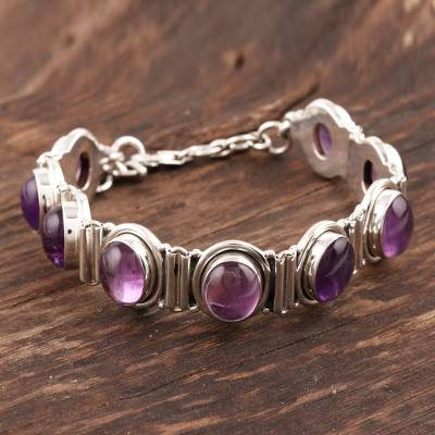 Amethyst link bracelet, 'Perfect Plums' - Handcrafted Jewelry Sterling Silver and Amethyst Bracelet