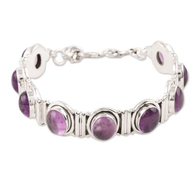 Handcrafted Jewelry Sterling Silver and Amethyst Bracelet