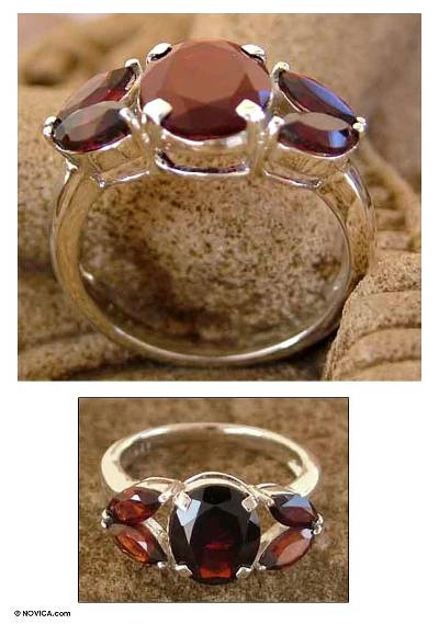 Artisan Crafted Garnet Ring Birthstone Jewelry