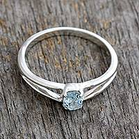 Topaz solitaire ring, 'Blue Island' - Blue Topaz Solitaire Sterling Silver Ring from India
