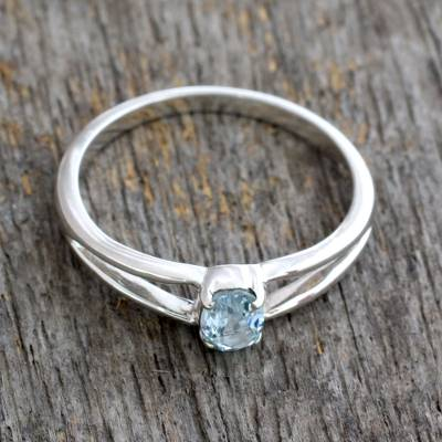 Blue Topaz Solitaire Sterling Silver Ring from India