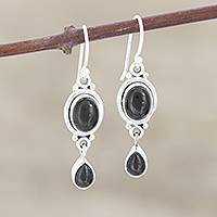 Onyx dangle earrings, 'Mystery' - Hand Made Jewelry Sterling Silver and Onyx Earrings
