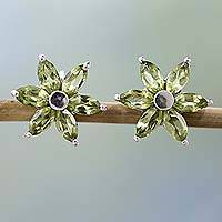 Peridot earrings, 'Summer Blossom' - Women's Floral Sterling Silver Button Peridot Earrings