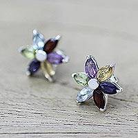 Topaz and amethyst earrings, 'Paradise Flower' - Floral Earrings in Sterling Silver and Natural Gemstones