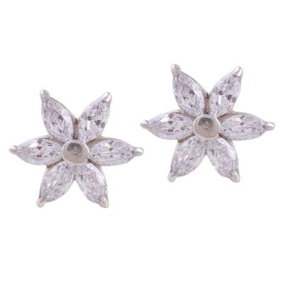 Sparkling Stud Earrings with Cubic Zirconia from India