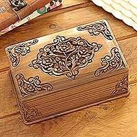 Walnut jewelry box, 'Mesmerizing Bouquets' - Handcrafted Indian Floral Wood Jewelry Box