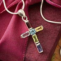 Amethyst and blue topaz cross necklace, 'Colorful Cross' - Handmade Multigem Cross Sterling Silver Religious Necklace