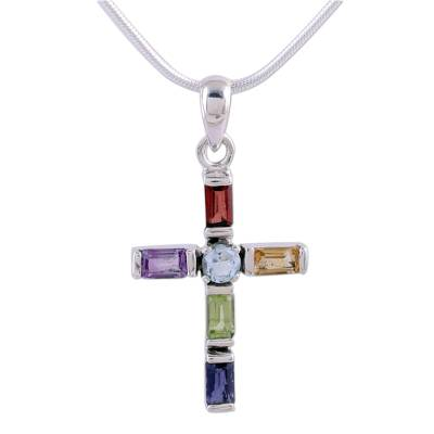 Handmade Multigem Cross Sterling Silver Religious Necklace