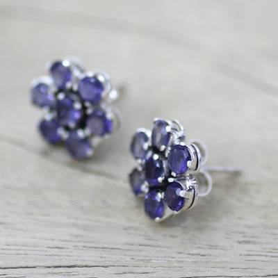 Iolite earrings, 'Cornflowers' - Floral Sterling Silver Button Iolite Earrings from India