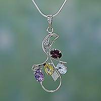 Amethyst and citrine pendant necklace, 'Spring Bouquet' - Gemstone Pendant in Sterling Silver Necklace
