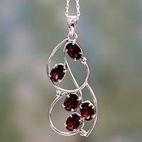 Garnet pendant necklace, 'Five Roses' - Sterling Silver and Garnet Necklace from India Jewelry