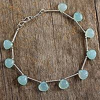 Chalcedony anklet, Aqua Magic