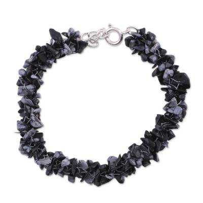 Hand Crafted Beaded Obsidian Bracelet
