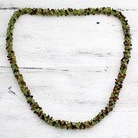 Peridot and tigers eye long necklace, Natures Majesty