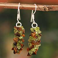 Peridot and tiger's eye earrings, 'Nature's Majesty' - Peridot and tiger's eye earrings