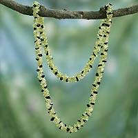 Peridot and onyx long necklace, 'Forest Shadow' - Onyx and Peridot Necklace Handmade Indian Beaded Jewelry