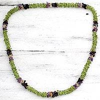 Peridot and amethyst long necklace, 'Formal Garden' - Peridot Amethyst Citrine Garnet and Iolite Beaded Necklace