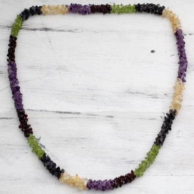 Amethyst and citrine long necklace, 'Flower Garland' - Natural Gemstone Necklace Colorful Jewelry