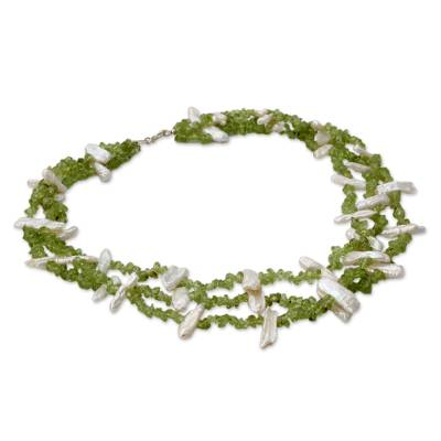 Artisan Crafted Beaded Peridot and Pearl Necklace