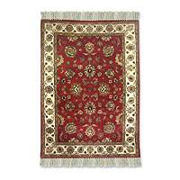 Novica :  hand-knotted wool rug royal red rug novica