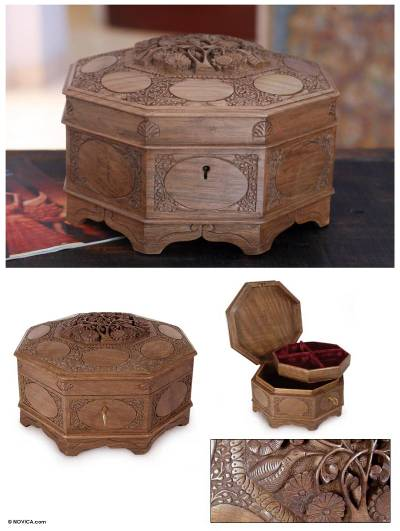 Walnut jewelry box, Ecstatic Art Blossom