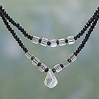 Onyx and quartz strand necklace,