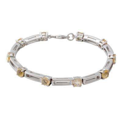 Handmade Citrine and Sterling Silver Link Bracelet