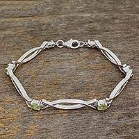 Peridot bracelet, 'Modern Grace' (India)