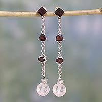 Garnet and rose quartz earrings, 'Flirtatious' - Free Trade Garnet and Rose Quartz Sterling Silver Earrings