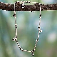Sterling silver anklet, Shy Flowers