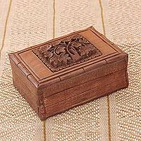 Walnut jewelry box, 'Kashmiri Flower' - Floral Wood Jewelry Box