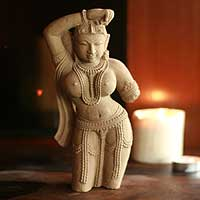 Sandstone sculpture, 'Alluring Beauty' - Natural Sandstone Hand Carved Indian Sculpture