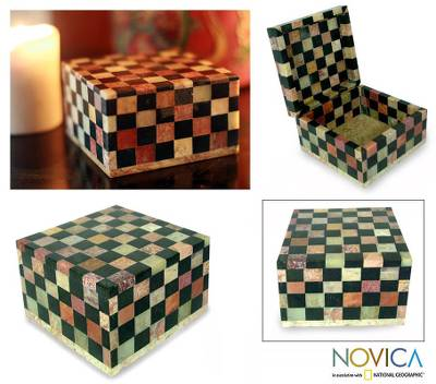 Soapstone jewelry box, 'Checkmate' (large) - Fair Trade Soapstone Inlay Jewelry Box (Large)
