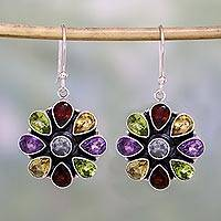 Amethyst and garnet flower earrings,