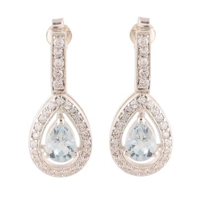 Artisan Crafted Blue Topaz and Cubic Zirconia Earrings