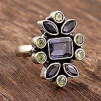 Iolite and peridot cocktail ring,