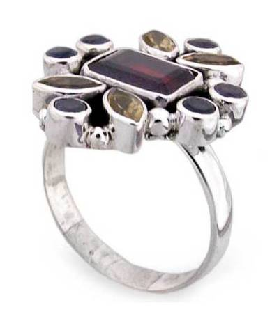 Garnet and Citrine Multigem Ring
