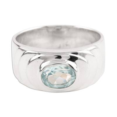 Handcrafted Sterling Silver Single Stone Blue Topaz Ring