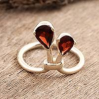Garnet cocktail ring, 'You and Me' - India Sterling Silver and Garnet Ring Birthstone Jewelry