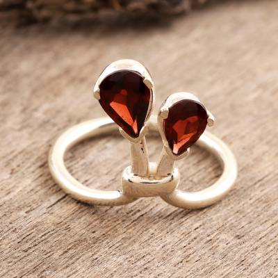 India Sterling Silver and Garnet Ring Birthstone Jewelry
