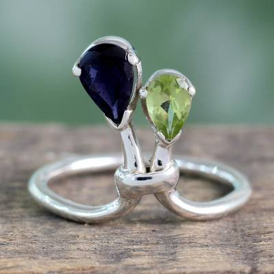 Peridot and iolite cocktail ring, 'You and Me' - Iolite and Peridot Ring India Silver Jewelry