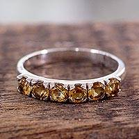 Citrine cocktail ring, 'Forever Sunshine' - Fair Trade Jewelry India Sterling Silver and Citrine Ring
