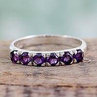 Amethyst band ring, 'Forever Violet' - Hand Made Jewelry Sterling Silver Amethyst Ring