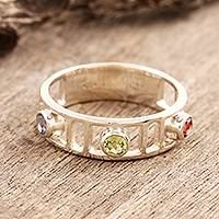 Garnet and peridot 3 stone ring, 'Love Trio' - Garnet and peridot 3 stone ring