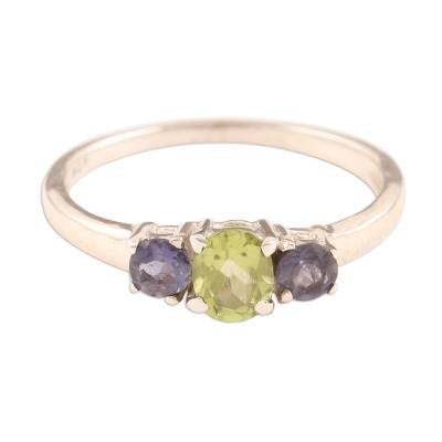 Peridot and Iolite Ring on Sterling Silver from India