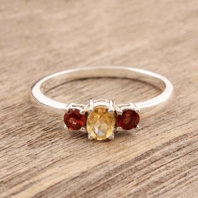 India Jewelry Citrine and Garnet Sterling Silver Ring