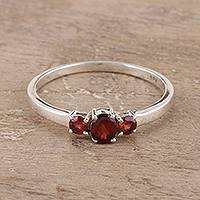 Garnet 3 stone ring, 'Passion's Glow' - Garnet Ring India Birthstone Jewelry