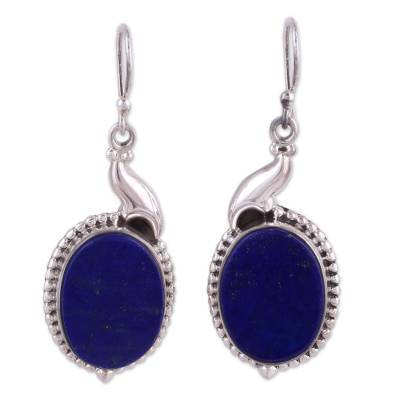 Elegant Artisan Crafted Lapis Lazuli Sterling Silver Dangle Earrings